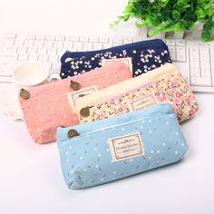 1PC School Pencil Bag Pencil Pouch Double Zipper Pure and Fresh Cosmetic Bags Office Stationery Canvas Pencil Case