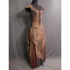 Costumes/Distressed/Tabards, Tunics/9033103 Tabard Medieval Distressed... ❤ liked on Polyvore featuring costumes, dresses, medieval dresses, long dress, medieval, black costume, brown costume, black halloween costumes, leather costume and black leather costume