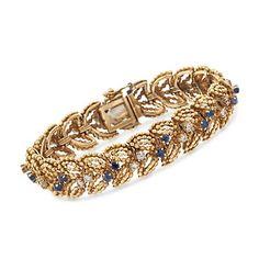 "C. 1970 Vintage Tiffany Jewelry 3.00 ct. t.w. Sapphire and 1.90 ct. t.w. Diamond Bracelet in 18kt Yellow Gold. 7.5"""