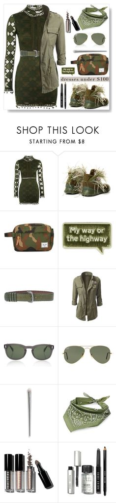 """Military Chic..."" by desert-belle ❤ liked on Polyvore featuring Rare London, Herschel Supply Co., Anya Hindmarch, Romeo Gigli, Moscot, Ray-Ban, Steve Madden and Bobbi Brown Cosmetics"