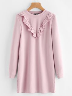Cheap autumn dress, Buy Quality straight dress directly from China fall dress Suppliers: SHEIN Autumn Dress Frill Trim Sweatshirt Dress Fall Dresses 2017 Pink Long Sleeve Round Neck Casual Straight Dress Muslim Fashion, Modest Fashion, Hijab Fashion, Girl Fashion, Fashion Dresses, Fall Dresses, Cotton Dresses, Casual Dresses, Casual Outfits