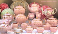 Pink Sadler Teapots, Sugar and Creamers, Cookie Jar and cupo saucer and plates… exquisite...