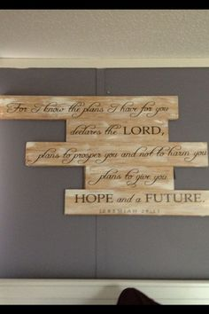 First original content pin!!! Use leftover hardwood floor pieces because they snap together perfectly. Sand wood and then age with some streaks of white acrylic paint. Use stencil or wall sticker of favorite verse or quote and tada! Easy wall art.