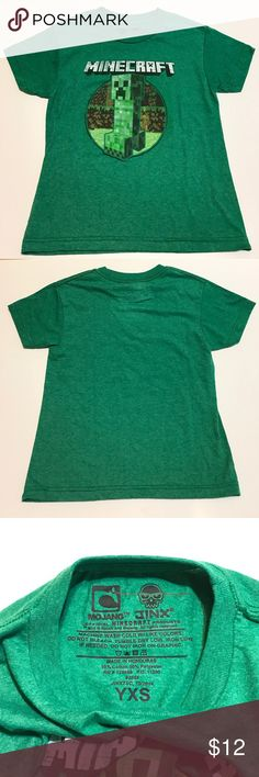 """Minecraft Youth Cotton Blend Graphic Tee XS EUC Mojang and Jinx Minecraft Youth Cotton Blend Graphic Tee Youth Extra Small Excellent Used Condition. Shoulders: 14""""; Chest: 14.75""""; Length: 18.25"""" Mojang Jinx Shirts & Tops Tees - Short Sleeve"""