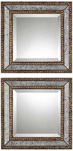 "Uttermost Set of 2 Norlina 18"" Square Wall Mirrors -"