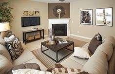 Transitional Living Room with stone fireplace, Carpet, Townsend Upholstered 3-Piece L-Shape Sectional With Corner