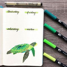 How awesome is this?? @jocelynsbujo ✨ I can't believe how talented the turtle illustration is! #notebooktherapy #turtle #illustration