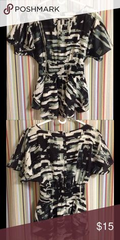 🔴 Ruched waist Layered Top Colors are black, white and grey. Waist is rouched. Double layered material below the waist. In great condition. Material is polyester but feels silky. 🔴💲15 with shipping included!I ECI Tops Blouses