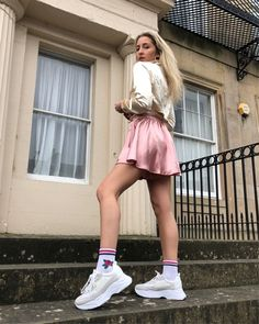 Shop Your Screenshots™ with LIKEtoKNOW.it, a shopping discovery app that allows you to instantly shop your favorite influencer pics across social media and the mobile web. Skater Skirt, Trainers, Ballet Skirt, Socks, Skirts, Outfits, Shopping, Women, Style