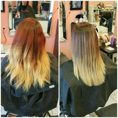 We softened this #ombre by #toning her red and adding more #blondehues to freshen her look-Victoria #bboutiquesalon