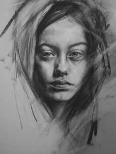 Untitled 002 29 7 x 42 cm charcoal drawing by Mary Walsh # Easy Charcoal Drawings, Charcoal Sketch, Pencil Art Drawings, Drawing Sketches, Drawing Faces, Manga Drawing, Sketching, Sketches Of People, Drawing People