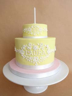 Laura - A pretty cake for mu sister's friend's 4th.  Lemon flavour to match the colour.  The top tier is a little dummy. :-)