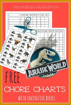 Come and snag these free Jurassic World chore charts with incentive bucks for cheerful attitudes.