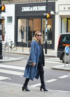 Duster coat, denim duster coat, ripped jeans, street style, westbourne grove
