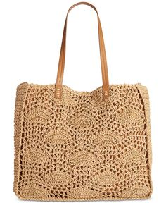 """Straw Studios Lace Tote - Handbags & Accessories - Macy's """"crochet feather stitches with gusset"""" Crochet Handbags, Crochet Purses, Crochet Bags, Crochet Accessories, Handbag Accessories, Crochet Feather, Nude Bags, Beige Purses, Dolce & Gabbana"""