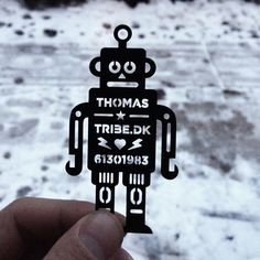 Made a laser cut robot business card just for fun and a little self promotion