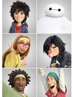 Okay guys, this is Big Hero 6. Meet the characters! Awesome movie!! Hiro, Baymax, Honey Lemon, Gogo, Wasabi, and Fred lol