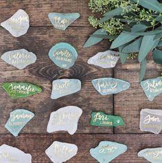 DIY Sea Glass Placecards