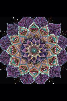 """Night Lotus Flower"" Mandala ~ by Mati Reved Mandala Design, Mandala Art, Flower Mandala, Lotus Flower, Pattern Dots, Sacred Geometry Art, Geometry Tattoo, Marianne Design, Mandala Coloring"