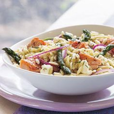 Salmon, Asparagus, and Orzo Salad with Lemon-Dill Vinaigrette | CookingLight.com