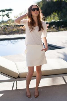 How I wish I can pull off an all white ensemble. The color's not very commuter friendly though.  Pull Tab Skirt - Ivory | Emerson Fry