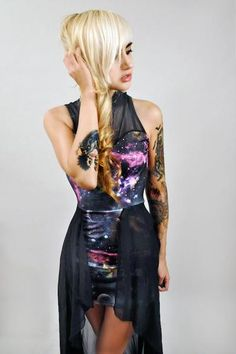 Escape Planet Earth in this custom made SPACE GALAXY sheer fishtail dress. Fully lined and professionally finished with serged seams. Made with spandex stretch and sheer mesh flowing freely.