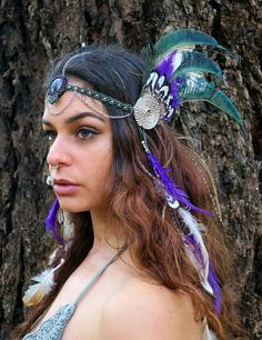 Your place to buy and sell all things handmade Gypsy Headpiece, Headdress, Tribal Warrior, Rooster Feathers, Green And Purple, Boho Style, Peacock, Boho Fashion, Macrame