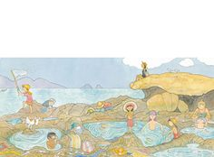'...we search in the clear warm pools...', limited edition print by Alison Lester. From picture book 'Magic Beach' (Allen & Unwin).  Available at Books Illustrated.