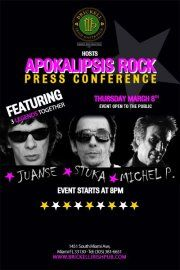 Apokalipsis Rock Press ConferenceCome watch these three legends unite under the same pub!    Juanse, Stuka and Michel P. will come wow us at a press conference, what better place than where you can enjoy a cold one?    Call us at 786.363.8571  @brickellirish  or write on our wall!