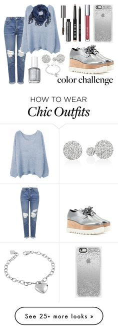 """""""Rock This Look: Blue and Silver"""" by beingmyselfaf on Polyvore featuring Topshop, STELLA McCARTNEY, H&M, Essie, White House Black Market, West Coast Jewelry and Bobbi Brown Cosmetics"""
