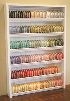 Ribbon storage.  Must build this soon! http://media-cache4.pinterest.com/upload/191473421627477968_F26Z8No8_f.jpg whitesilkpurse craft ideas