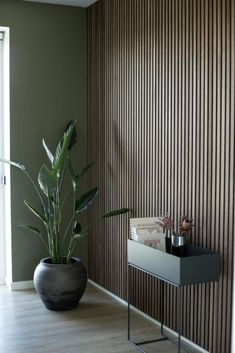 Wood Slat Wall, Wooden Wall Panels, Wood Panel Walls, Wooden Slats, Wood Paneling, Modern Wall Paneling, Scandinavian Living, Scandinavian Interior, Wooden Sliding Doors