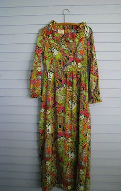 Hippie Psychedelic Maxi Dress 1970s Size 12. $30.00, via Etsy.