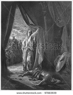 stock photo : jael and Sisera - Picture from The Holy Scriptures, Old and New Testaments books collection published in 1885, Stuttgart-Germany. Drawings by Gustave Dore.