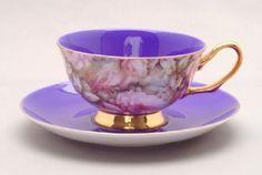 Satin Shell Purple Bone China Tea Cup and Saucer