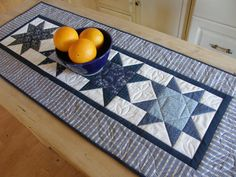 Americana Table Runner Scrappy Blue and by MoonDanceTextiles