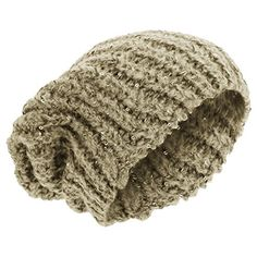 5a595587e9c LadiesWomens Sequin Cable Knit Slouch Winter Beanie Hat One Size Beige    You can get additional
