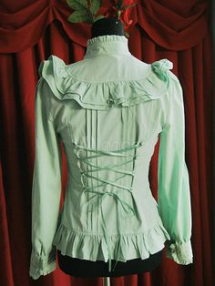 Nova camisa de Lolita de babados Chiffon verde