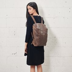 Sale 20% Off Copper Brown Leather Backpack by CyanByMiriWeiss