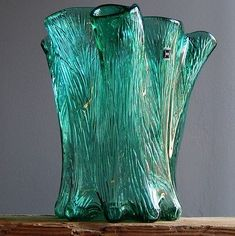 1-7-kg-RARE-Vintage-60-70s-HADELAND-NORWAY-Glass-Vase-Norwegian-Art-Fat-Lava-Era