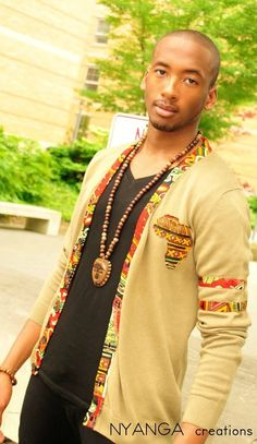 """Afro Varsity Cardigan By Nyanga Creations - Funky Fashions - African Designers & Models - Funk Gumbo Radio: http://www.live365.com/stations/sirhobson and """"Like"""" us at: https://www.facebook.com/FUNKGUMBORADIO"""