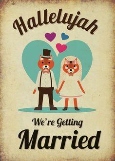 Foxes Themed Vintage Retro Style Wedding Invita... - Folksy
