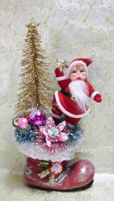Made-to-order-Santa-Boot-Bottle-Brush-Tree-Vintage-Felt-Santa-Vintage-Ornaments