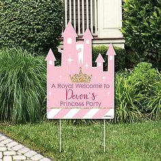 Little Princess Crown – Party Decorations – Pink and Gold Princess Baby Shower or Birthday Party Personalized Welcome Yard Sign - Brautparty Ideen Disney Party Games, Princess Birthday Party Games, Tween Party Games, Bridal Party Games, Engagement Party Games, Graduation Party Games, Birthday Games, Baby Birthday, Birthday Signs