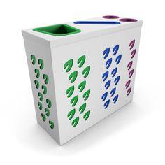 ORCHESTRA OFFICE Blanc poubelle de tri sélectif avec compartiment papier et collecteur gobelets/canettes Garbage Can, Modern, Design, Outdoor, Trash Bins, Business, Outdoors, Trendy Tree