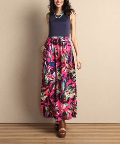 Look at this Fuchsia Floral Tank Maxi Dress on #zulily today!