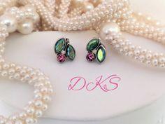 Cherries Jubilee, Swarovski Stud earrings, Petite, small, Green, Pink, Posts, Crystal Studs, Cherry Studs, DKSJewelrydesigns, FREE SHIPPING