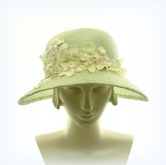 Summer Hat - Wide Brim Hat for Women - 1920s Fashion Hat - Light Green Straw Hat - Vintage Flowers. $245.00, via Etsy.