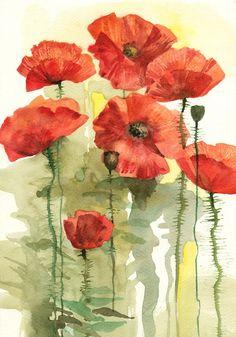Bloomed Poppies - original watercolor painting via Etsy