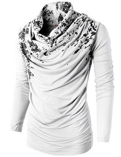 H2H Mens Unique Slim fit Fashionable Designed Shirring Long Sleeve T-shirts WHITE US 3XL/Asia 4XL (KMTTL0252)